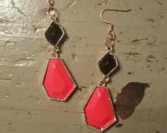 Neon Pink and Black Drop Earrings