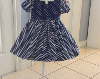 The Navy Blue and White Polka-dot Dress, Size 12-15 months