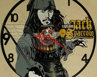Vinyl wall clock Captain JACK SPARROW