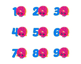 """Shopkins donut applique machine embroidery design with numbers 1 to 9- 3 sizes 4x4"""", 5x7"""", 6x10"""""""