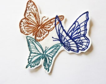 Embroidery 3 butterflies in flight