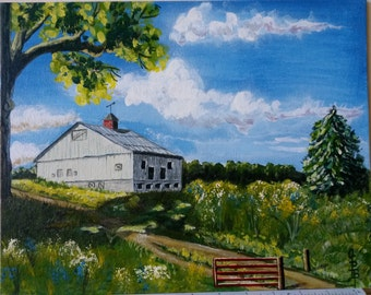 Farm barn, original landscape,  from the weather vane atop  the barn to the  White Cloud Blue Sky, this is good living. gift for any home