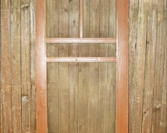 Vintage WOOD SCREEN DOOR wooden brown country rustic architectural salvage porch frame wedding art deco jewelry display