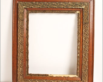 """Antique PICTURE FRAME Fits 16"""" x 20"""" brown wood frame vintage victorian photo ornate empire layered stacked"""