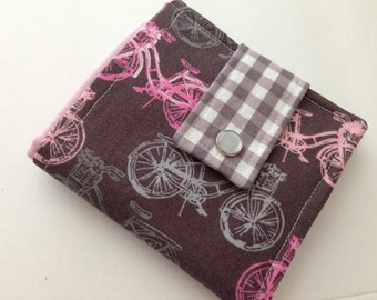 Women's Bifold Wallet, Bicycle Wallet, Credit Card Wallet, Handmade