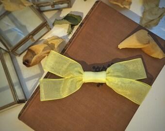 Yellow Hair Bow - Chiffon - Stylish - Unique