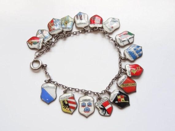 Sterling SIlver Charms Exceptional Vintage 1940's-1950's Souvenir Enamel German City Shield Travel Charm Bracelet