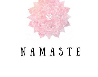 Pink Lotus Namaste 5X7 digital wall art print