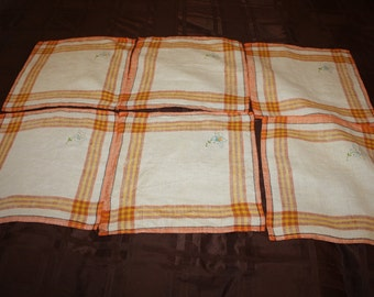 Apricot Plaid Linen Napkins-set of six