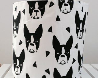 Boston terrier, bulldog, fabric storage basket, eco linen cotton canvas, fabric basket, dog basket, monochrome, storage, nursery.