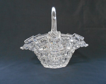 Large Vintage Clear Glass Basket Bowl or Vase  #00035