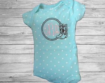 SALE** Cowgirl Boots And Rope Baby Monogram Onesie