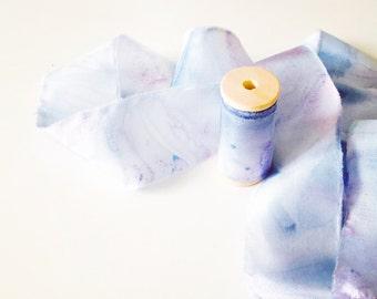 Habotai & Mouseline - Handdyed Marbled Silk Ribbon