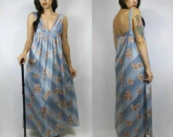 Vintage 1960s Handmade Blue + Pink Striped Floral Maxi Dress size M/L