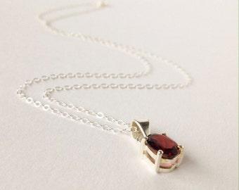 Silver necklace, silver necklace, Necklace with Garnet, Granat, Garnet, necklace with Garnet pendant