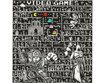 Video Games Art, Retro Gaming Art, steampunk art, videogames art, black and white, contemporary art, gothic art, modern art, tattoo, gaming