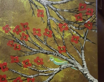 red cherry blossoms with birds