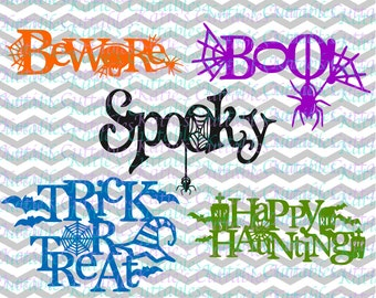 Halloween Files,Decorate Halloween Words, Beware, Boo, Spooky, Trick or Treat, Happy Haunting .SVG/.DXF/.EPS and .Png Files