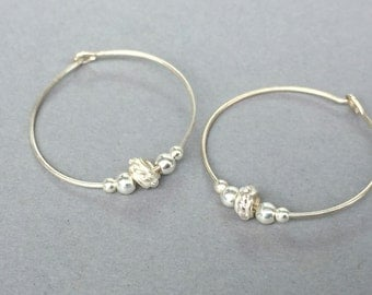 Sterling silver hoops, Beaded hoop earrings, Bridesmaids earrings, Sterling silver hoop earrings, Small silver hoop earrings