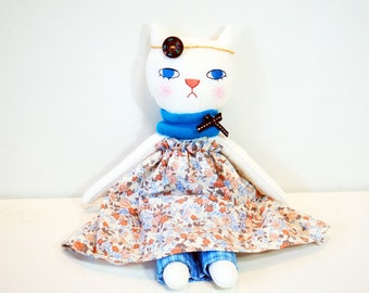 Handmade Cat Doll, Cat Cloth Doll, Whimsical Rag Doll, GirlsRoom Decor, Gift for Her, Children Animal Toy , Soft Cat Plush, Stuffed Cat Toy