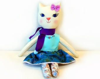 Handmade Cloth Doll, Embroidered Cotten Doll, Whimsical Rag Doll, Girls Toy, Gift For Her, Soft Animal Toy, stuffed Cat Plush, Room Decor