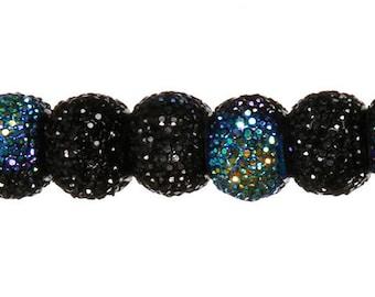 "Glitter Bead Strand Acrylic Black AB 10mm x 14mm x 7"""
