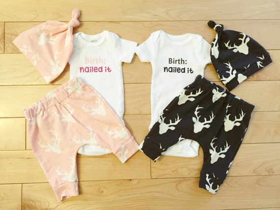 Twins Coming Home Outfit Boy Girl Deer By