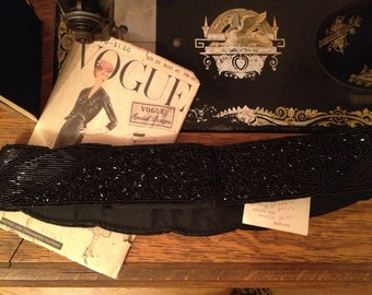Vintage 1980s Black Beaded Belt * 27 1/2 inch waist