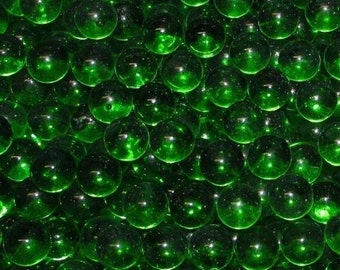 """One Pound Of New Transparent Emerald Glass Marbles (5/8"""" +/-). Great For Decorating, Crafts, Games And Collecting."""