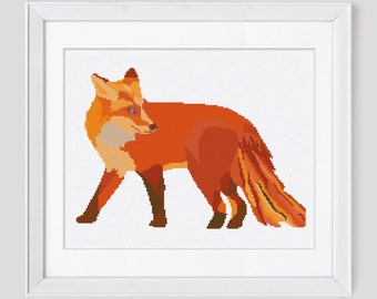 Modern fox cross stitch pattern, fox cross stitch pattern, fox counted cross stitch pattern, fox cross stitch pdf pattern