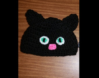 Crochet 0 to 3 months black cat hat