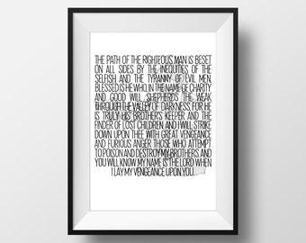 Ezekiel 25:17 - Pulp Fiction Movie Quote Print Film Gift