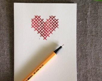 Cross stitch heart greetings card