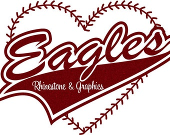 Eagles Baseball Heart with Laces Instant download SVG, Eps, Cutting File