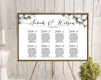 White Flower Printable Custom Wedding Seating Chart, Wedding Seating Poster, Wedding Seating Sign, Wedding Seating Board - WD69 TH21 WC55