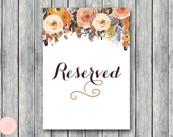 Fall Reserved sign, Wedding Reserved seating sign, Reserved table sign, Wedding sign, Printable sign, Wedding decoration sign wd82 TH40