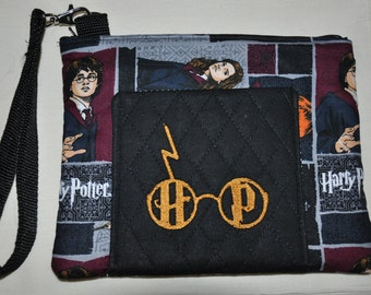 New!  Harry Potter Fabric Embroidered - Quilted Wristlet - Cell Phone Case - Coin Purse