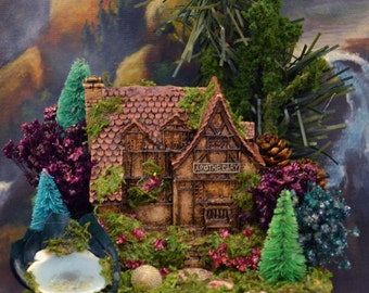 Fairy House for Fairy Gardens or Scenes with Fairy Garden and Resin Pond, Jasper Stepping Stones, Pine Cones, Trees, Magical, Enchanting!
