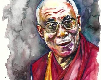 Dalai Lama Limited Edition Portrait Painting Watercolour Colour Print