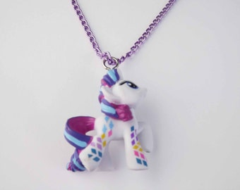 My Little Pony Rarity, Sugar Grape, Button Belle, Skywishes, Fizzy Pop purple chain necklace pegasister brony party favor gifts jewelry