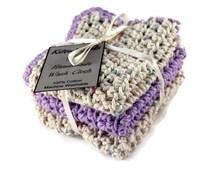 Purple Washcloth Set, crochet washcloth, crochet washcloth set, tan washcloth, purple dishcloth, purple facecloth, crochet dishcloth