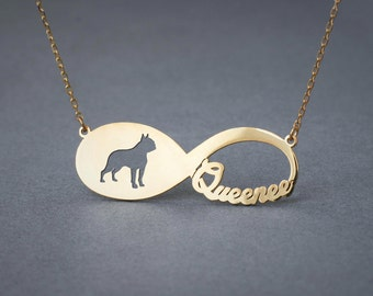 14k Solid Gold Personalised INFINITY BOSTON TERRIER Necklace - 14k Gold Boston Terrier necklace - Name Necklace