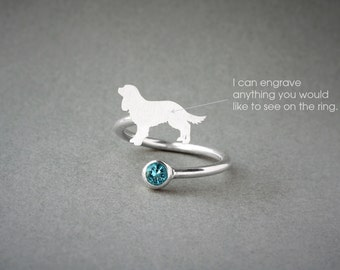 Adjustable Spiral Cavalier KING CHARLES Spaniel BIRTHSTONE Ring / King Charles Birthstone Ring / Birthstone Ring / Dog Ring