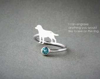Adjustable Spiral LABRADOR BIRTHSTONE Ring / Labrador Birthstone Ring / Birthstone Ring / Dog Ring