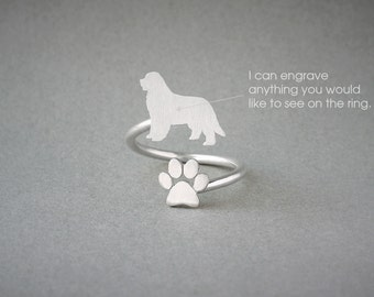 Adjustable Spiral NEWFOUNDLAND DOG and PAW Ring / Newfoundland Dog Ring / Paw Ring /Dog Ring / Silver, Gold Plated or Rose Plated.