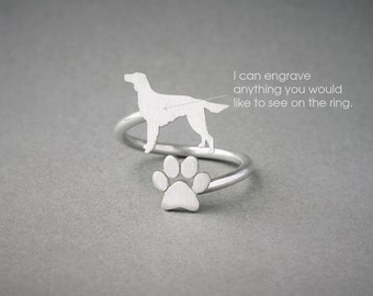 Adjustable Spiral SETTER and PAW Ring / Setter Ring / Paw Ring /Dog Ring / Silver, Gold Plated or Rose Plated.