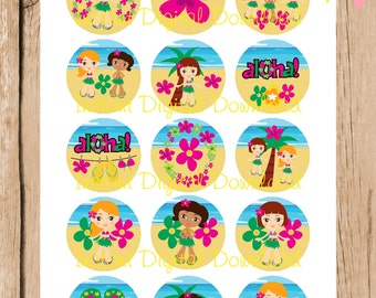 Aloha, Beach Party, Tropical.  1 Inch Bottlecap Images. 4 x 6 Inch JPG File. Instant Download.