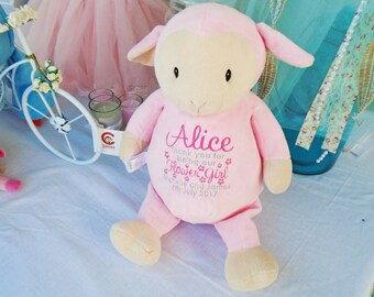 Personalised Pink lamb Cubbies teddy, Flower Girl gift, Bridesmaid gift, Wedding gift, new baby gift any wording