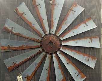 Farmhouse windmill metal wall decor 47 inch large- wall art-rustic-vintage-mancave-home decor-gift - fall decor-home accents- fan blades-