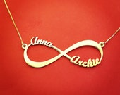 Gold Plated Infinity Necklace With Names Gold Dipped Infinity Necklace With Name Infinity 2 Names Necklace Double Name Infinity Necklace